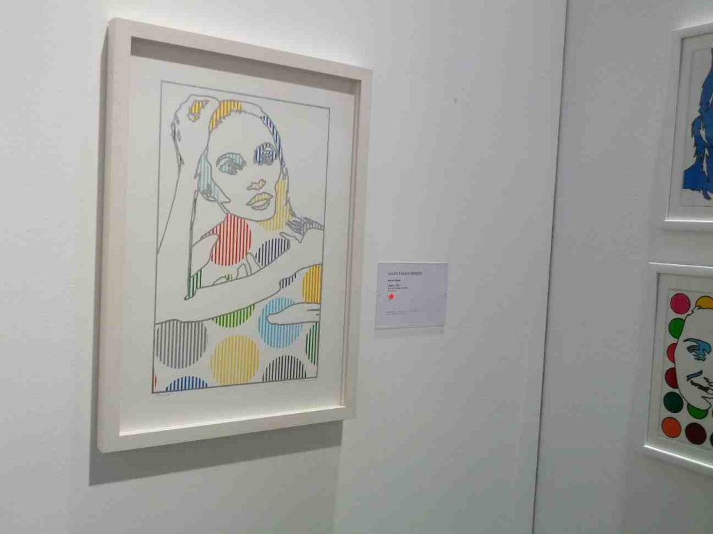Ein Stück Ausstellungfläche der Galerie Klaus Benden auf der neuen art berlin. Es enthält ein Bild des Pop-Art-Künstlers Werner Berges.